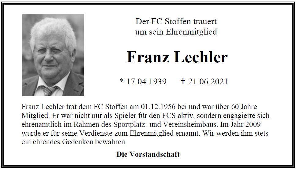FC Stoffen trauert um Franz Lechler