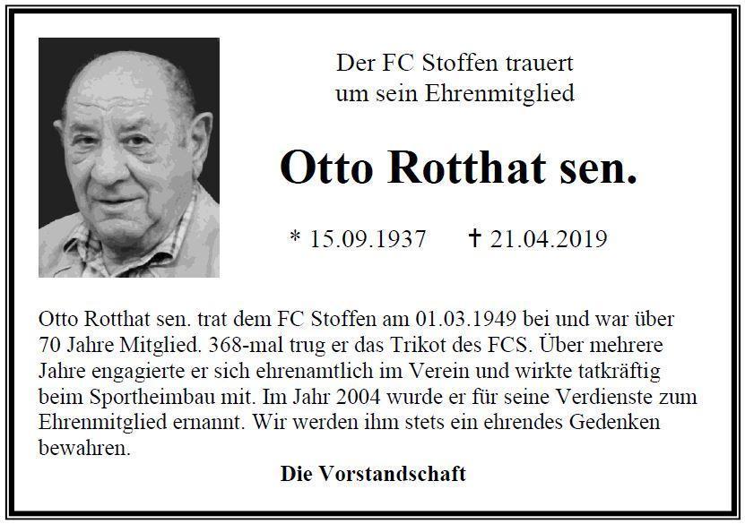 FCS trauert um  Ehrenmitglied Otto Rotthat sen.